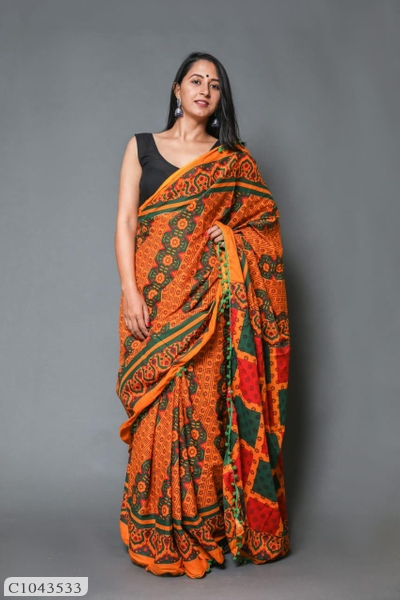 Cotton Printed Saree with Blouse Online Shopping   Cotton Saree Online  