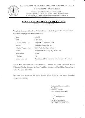 Contoh Surat Keterangan Aktif Kuliah Universitas Tanjungpura Pontianak