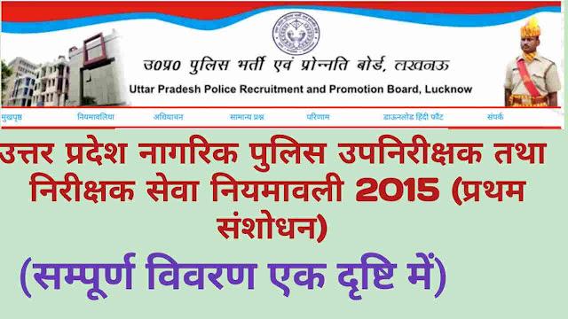 उत्तर प्रदेश उपनिरीक्षक और निरीक्षक (नागरिक पुलिस) सेवा नियमावली (प्रथम संशोधन) 2015 Revised | Uttar Pradesh Sub Inspector and Inspector (Civil Police) Service Rules 2015 (First Amendments) Latest