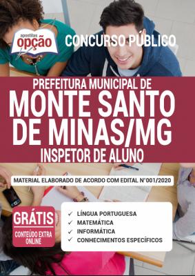 A Apostila Prefeitura de Monte Santo de Minas - MG em PDF - Inspetor de Aluno - 2020 foi elaborada de acordo com o Edital 001/2020 do concurso, por professores especializados em cada matéria e com larga experiência em concursos.
