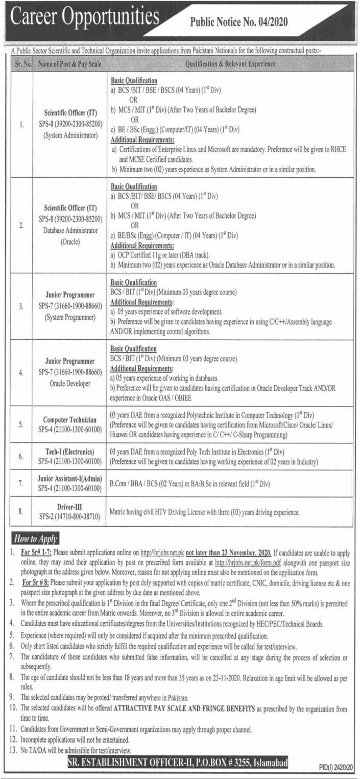 P O Box No 3255 Pakistan Atomic Energy Commission PAEC Jobs 2020 for Scientific Officer