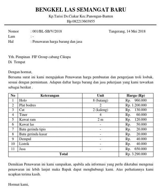 9. Contoh Surat Penawaran Kerjasama Service Kendaraan