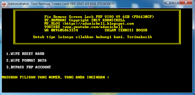 Tool Remove Screen Lock FRP VIVO V9 6GB (PD1630CF)