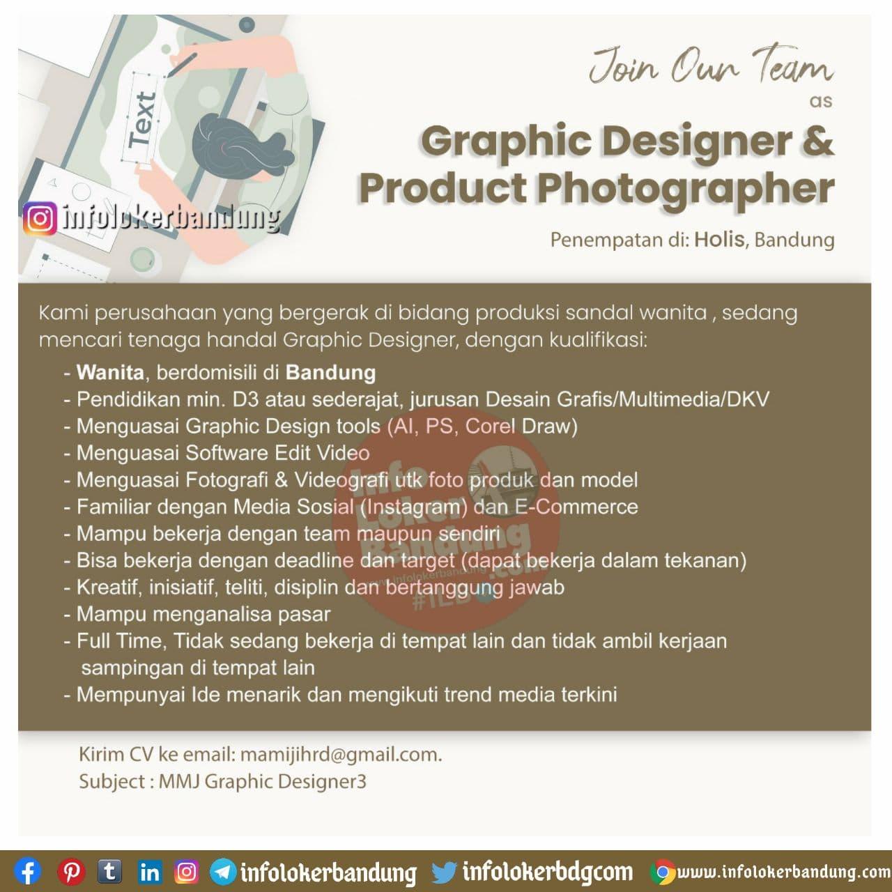 Lowongan Kerja Graphic Designer & Product Photographer Mamiji Bandung November 2020