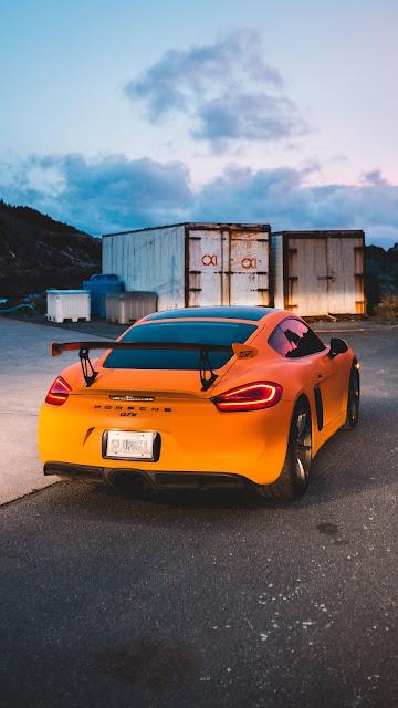 Porsche GT4, sports car, yellow car