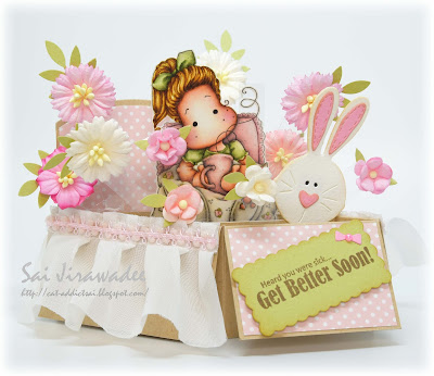 Magnolia Tilda with Bunny Slippers in Bed Pop Up Box Card