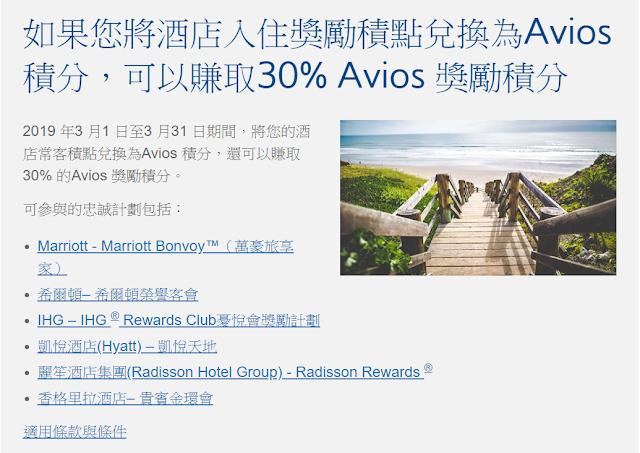 英航BA Avios最新活動~將酒店積分為兌換Avios里程,可額外獲贈獎勵30%(3/31前)