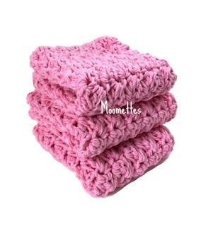 Handmade Cotton Dish Cloths Pink Washcloths