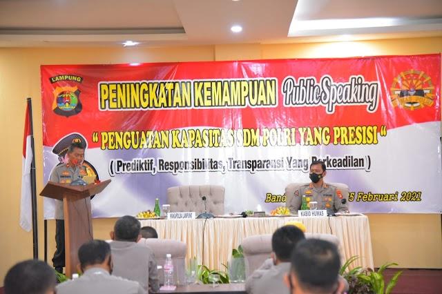 Bidhumas Polda Lampung selenggarakan Peningkatan Kemampuan Public Speaking