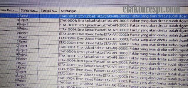 ETAX-API-30003 Faktur Yang Akan Diretur Sudah Diganti
