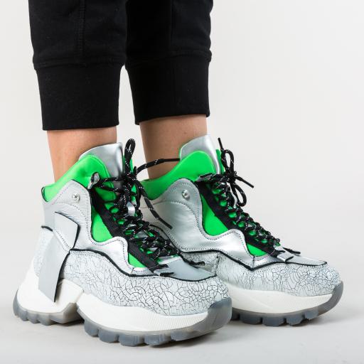 Pantofi sport cu platforma argintii de piele
