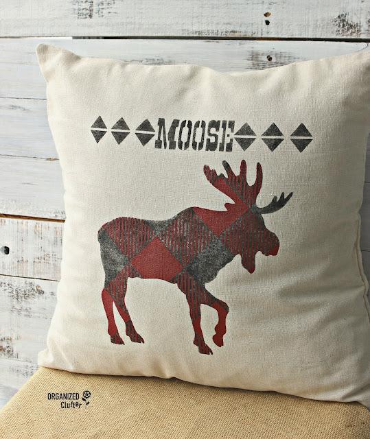Stenciled Buffalo Check Moose Pillow #buffalocheck #stencil #oldsignstencil #pillowcover