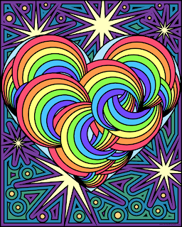 Rainbow heart- blank version available to color