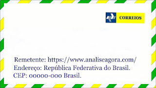 A imagem mostra um envelope dos correios brasileiro e nas cores também do Brasil, verde, amarelo e azul.