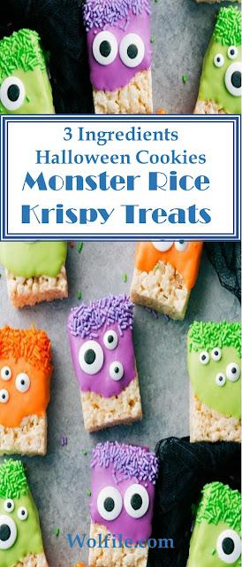 Rice Krispies Treat Monsters #Halloween #Cookies