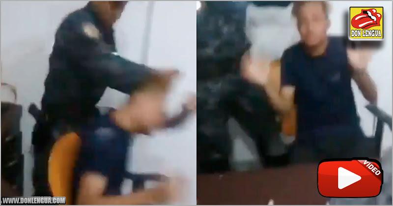 Así actúa un malandro uniformado de la PNB contra un miserable carterista