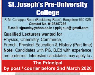 St.Joseph's Pre University College Lecturer Jobs