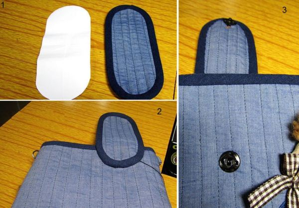 Bag strap denim quilting. DIY tutorial in pictures.  Джинсовая сумочка