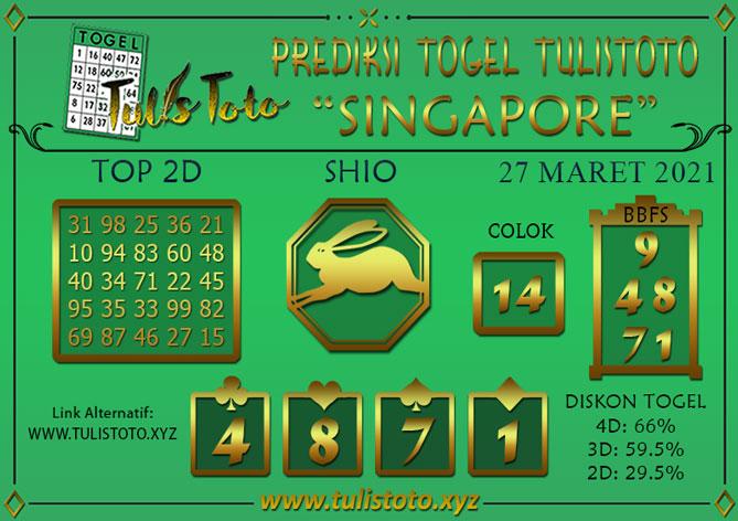 Prediksi Togel SINGAPORE TULISTOTO 27 MARET 2021