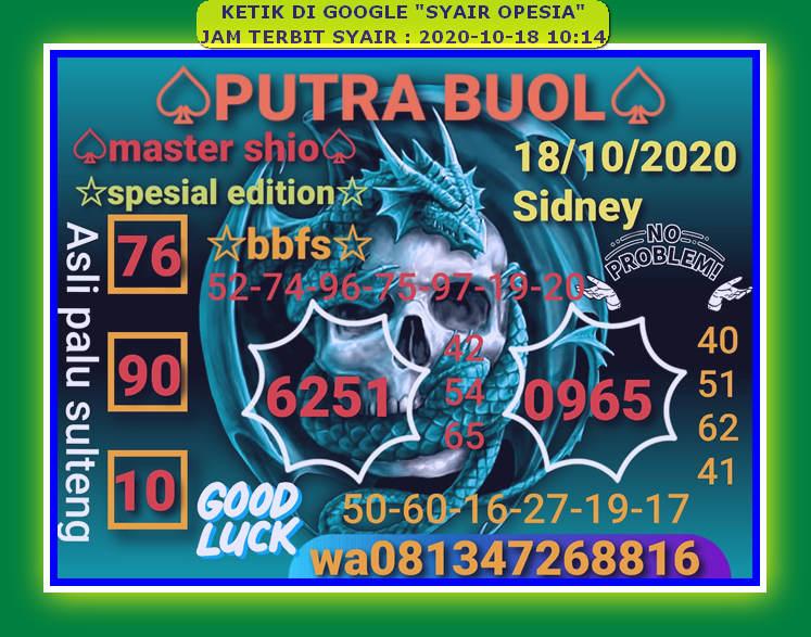 Kode syair Sydney Minggu 18 Oktober 2020 86