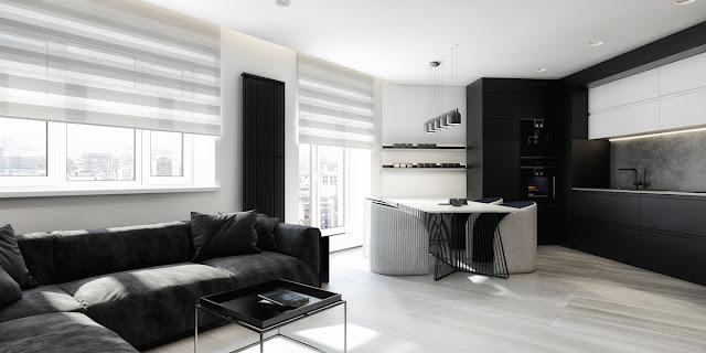 интерьер кухни студии в черных и белых тонах
