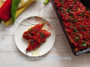 Печени чушки с яйца и сирене на фурна в доматен сос * Peperoni ripieni di uova e formaggio con salsa di pomodoro
