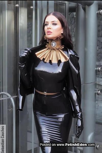 Black latex dress lady with black latex gloves
