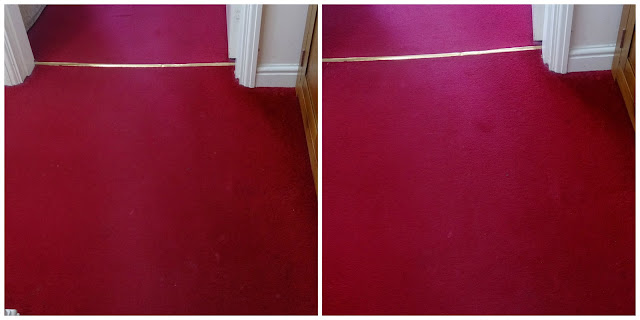 The same area of carpet before and after cleaning with VK200 Carpet Freshener