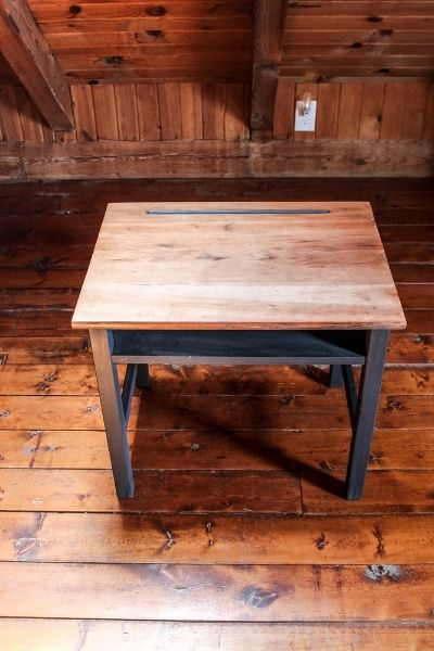 Vintage school desk makeover. Bare wood top & painted sides. The sides are painted with Annie Sloan Chalk Paint® in Graphite!