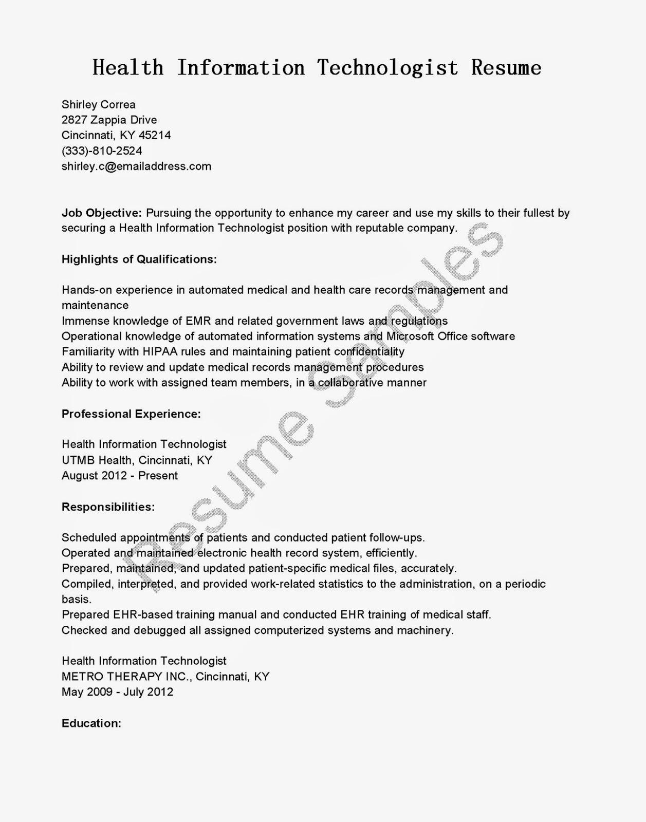 Resume Samples Health Information Technologist Resume Sample