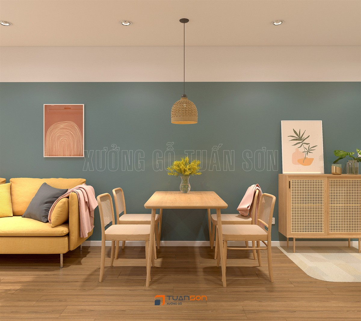 Thiết kế nội thất căn 3PN (75m2) Tòa S3.01 Vinhomes Smart City Tây Mỗ