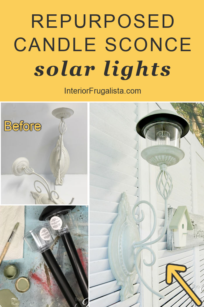 How to turn metal candle sconces into unique solar fence lights for your outdoor living space in a few easy steps for budget friendly outdoor lighting. #diysolarlights #repurposedcandlesconces #diyoutdoorlighting