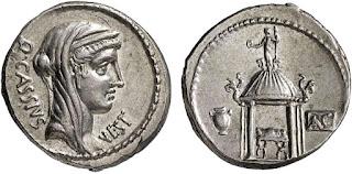 Монета: Денарий. Веста.  Монетарий Квинт Кассий Лонгин.