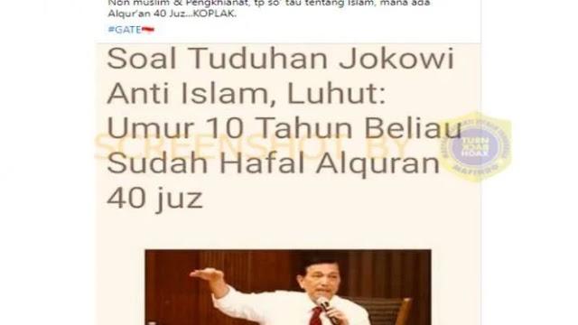 Luhut Sebut Sejak Kecil Jokowi Sudah Hafal Quran 40 Juz, Cek Faktanya