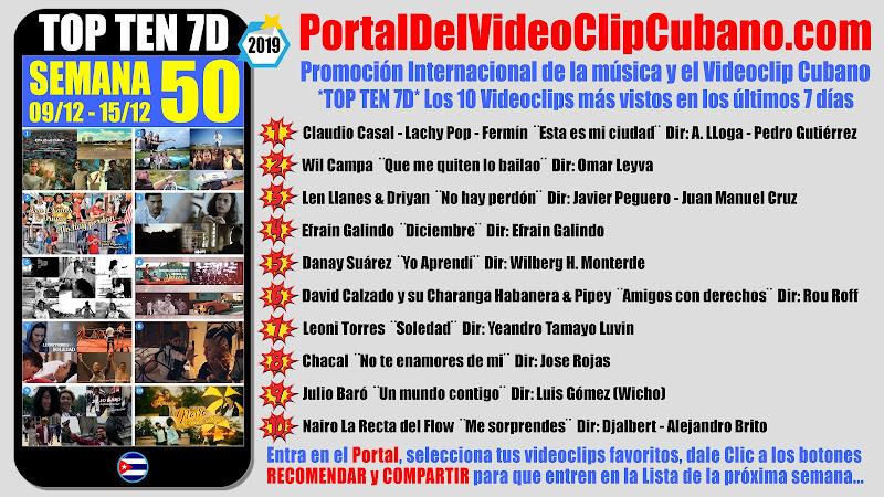 Artistas ganadores del * TOP TEN 7D * con los 10 Videoclips más vistos en la semana 50 (09/12 a 15/12 de 2019) en el Portal Del Vídeo Clip Cubano
