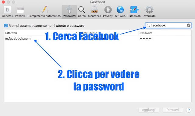 elenco dove c'è la mia password di facebook salvata da safari