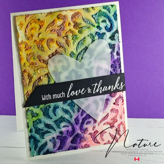 colourful embossed thank you card