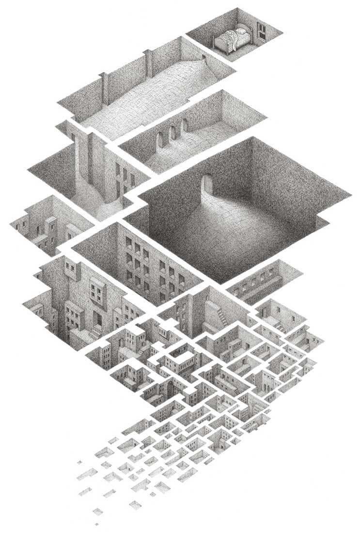 12-Hypnogogic-Matt-Borrett-Hiding-in-a-Safe-Architectural-Labyrinth-Drawing-www-designstack-co