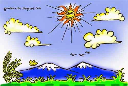 pemandangan langit cerah berawan