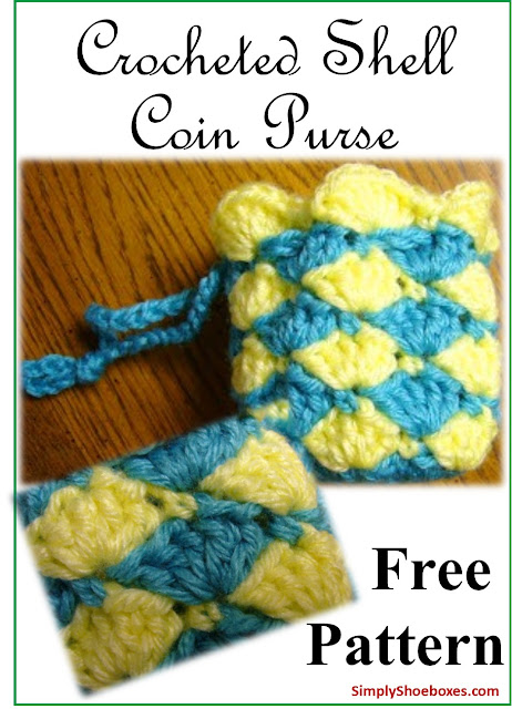 Shell stitch crocheted coin purse pattern ~ designed for Operation Christmas Child shoebox.