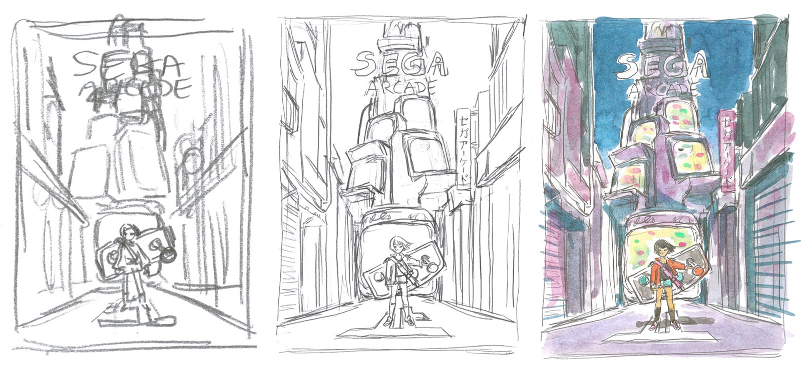 Studies and pencils of the illustration