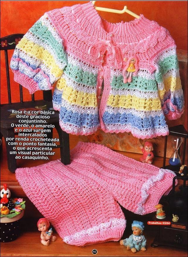 Conjunto de bebé saco y pantalón de hilo tejido crochet