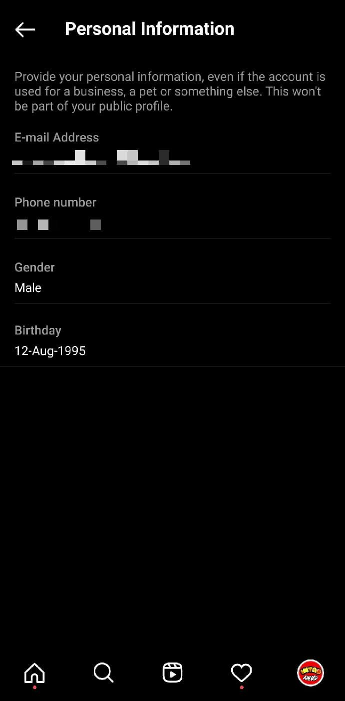 Change date of birth on Instagram