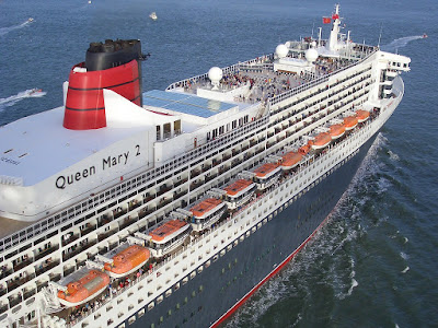 Aerial View of Cunard's Queen Mary 2 Sailing on 2020 World Cruise.visiting the Mediterranean, Arabian Gulf, Asia, Indian Ocean, Australia