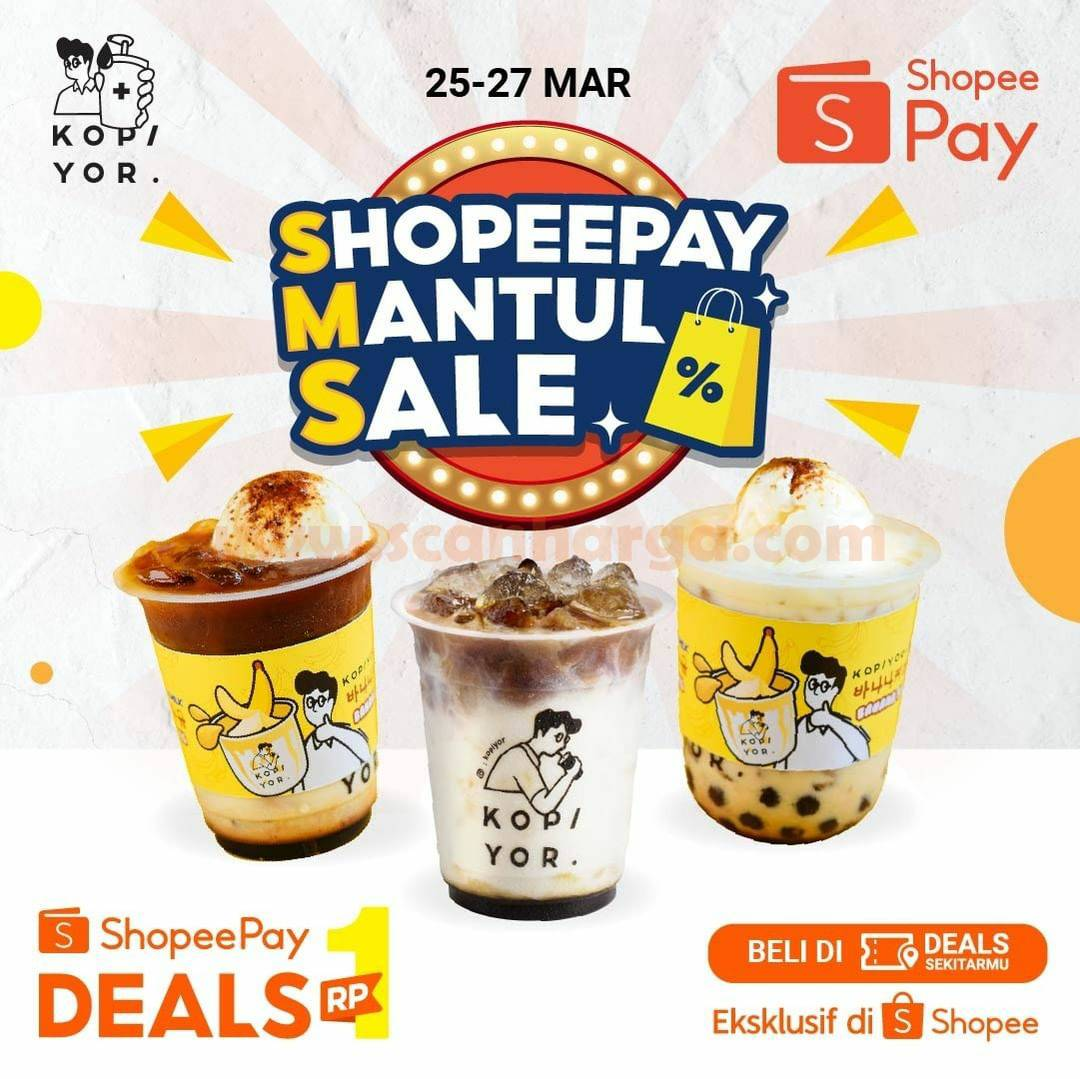 Promo KOPI YOR ShopeePay Mantul Sale! Beli Voucher Cashback 100% cuma Rp 1,-