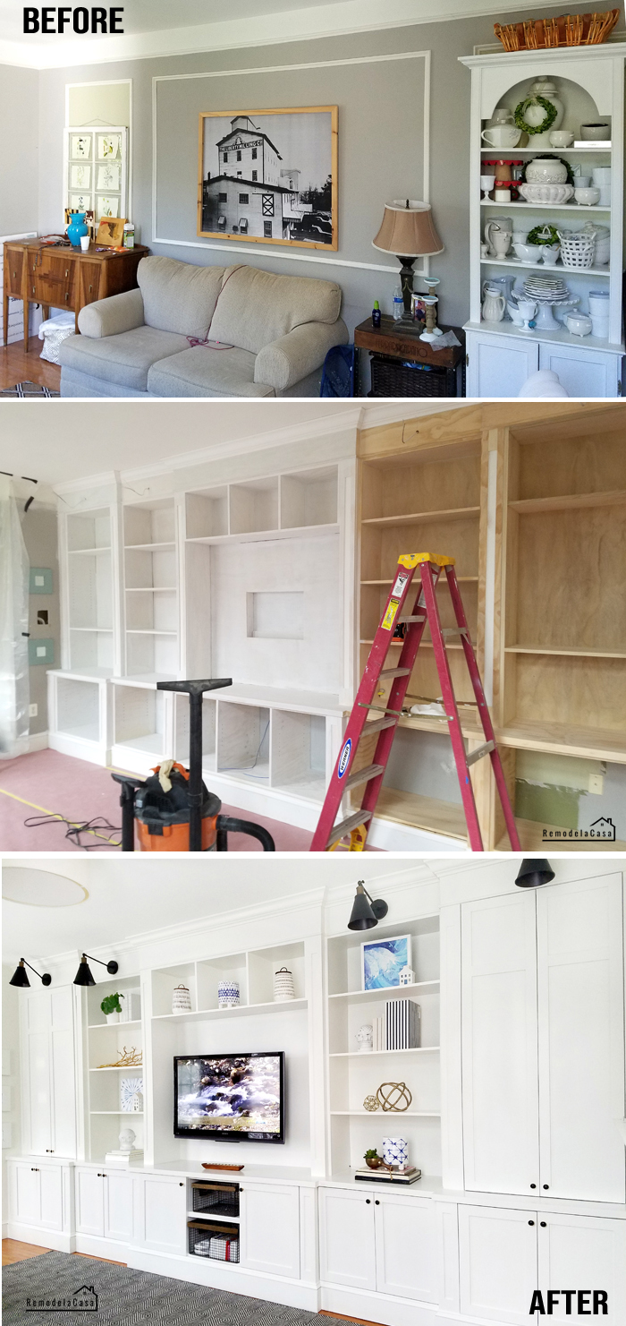 Before and after of family room with built-in