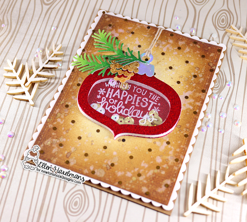 Newton's Nook Designs & Therm O Web Inspiration Week - Ornament Shaker card by Ellen Haxelmans   Ornament Shaker Die Set, Pines & Holly Die Set and Ornamental Wishes Stamp Set by Newton's Nook Designs   Flock and Foil Transer Sheets by Therm O Web #newtonsnook #thermoweb