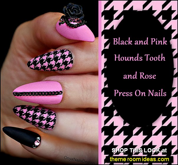 Black and Pink Hounds Tooth and Rose Press On Nails dressy nails fancy nails party nails nart art