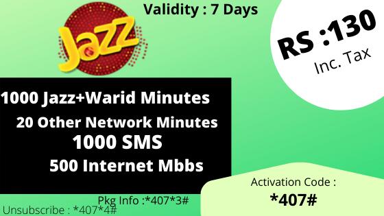 jazz warid call package  weekly call bundle