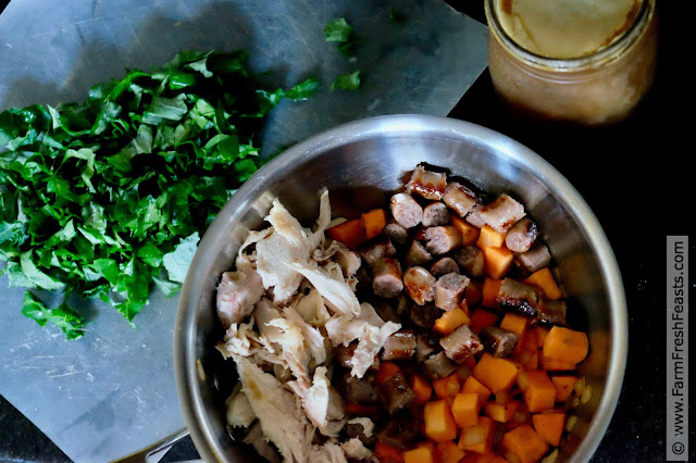 the process of making chicken, sweet potato, and kale soup